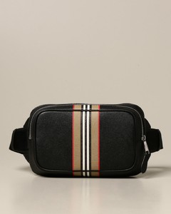 belt bag in grained leather with striped print