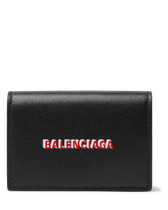 Logo-Print Leather Trifold Wallet