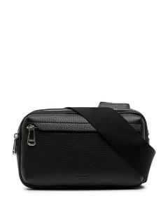 logo-plaque mini leather shoulder bag