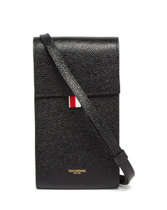 Grained-leather cross-body phone bag