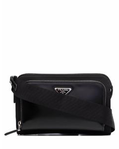 Re-Nylon and leather shoulder bag