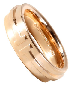 Tiffany Unisex 18k rose gold T Two Narrow Ring 4.5mm