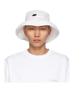 白色宽帽渔夫帽