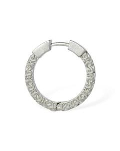 Engraved Small Mono Hoop Earring
