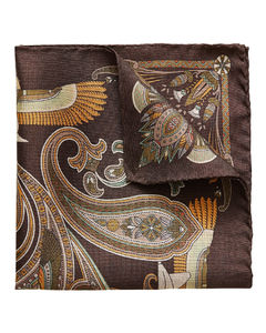 Brown ancient inspired paisley print pocket square