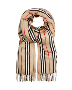 Vintage-check cashmere and silk-satin scarf