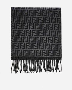FF logo jacquard wool scarf