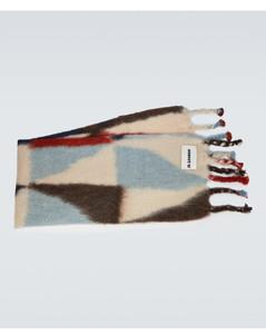 马海毛羊毛嵌花针织围巾