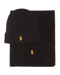 Logo-embroidered wool hat and scarf set