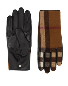 Leather And Wool Check Gloves