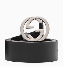 Men's palladium-tone GG buckle belt