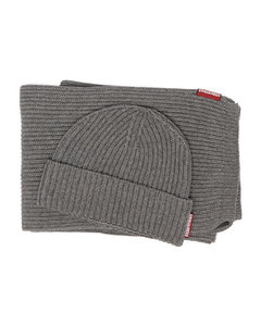 Ribbed-knit cotton-blend scarf and hat set