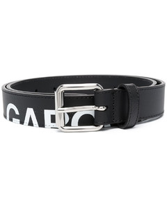 logo-print leather belt