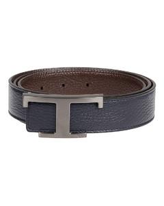 Reversible hammered leather belt