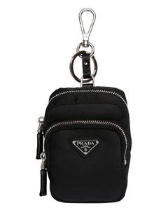 Logo Nylon Key Holder W/ Leather Details