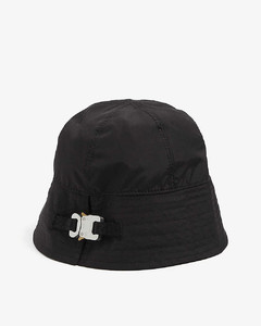 Buckle-embellished knitted bucket hat