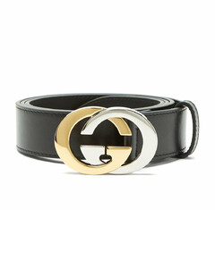 Bi-colour GG buckle leather belt