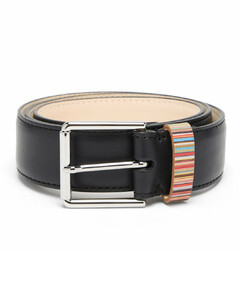 Signature stripe leather belt