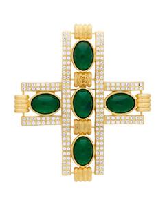 金色&绿色抛光石饰十字架胸针