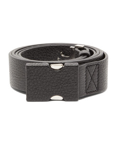 Safety-buckle grained-leather belt