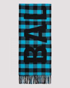 Check oversize logo scarf