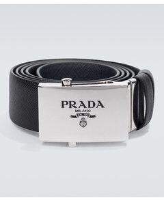 Saffiano reversible leather belt