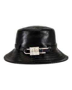 Lock Leather Bucket Hat in Black