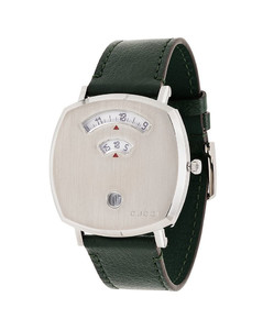 silver tone and green Grip 35 mm watch