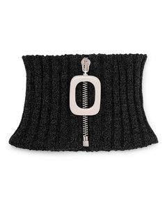 Mélange Ribbed Merino Wool Zip-Up Snood