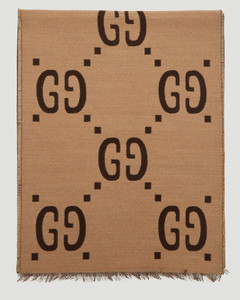 GG Logo Jacquard Scarf in Brown
